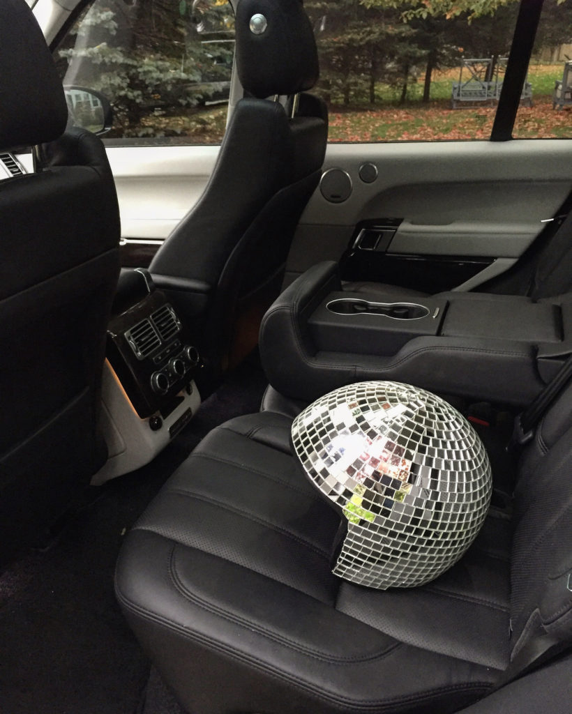Disco in the back of the Range Rover...