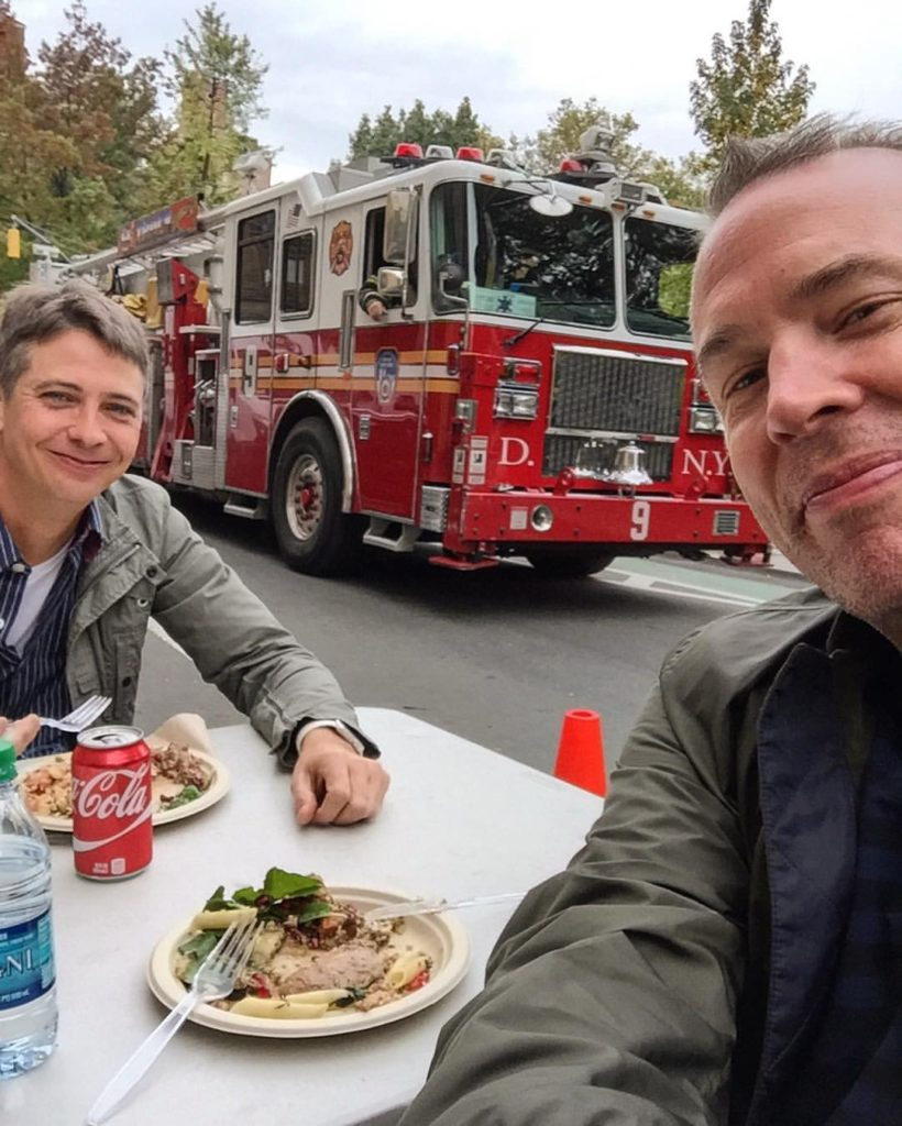 Lunch in the road, in November, in NYC with a fire truck...